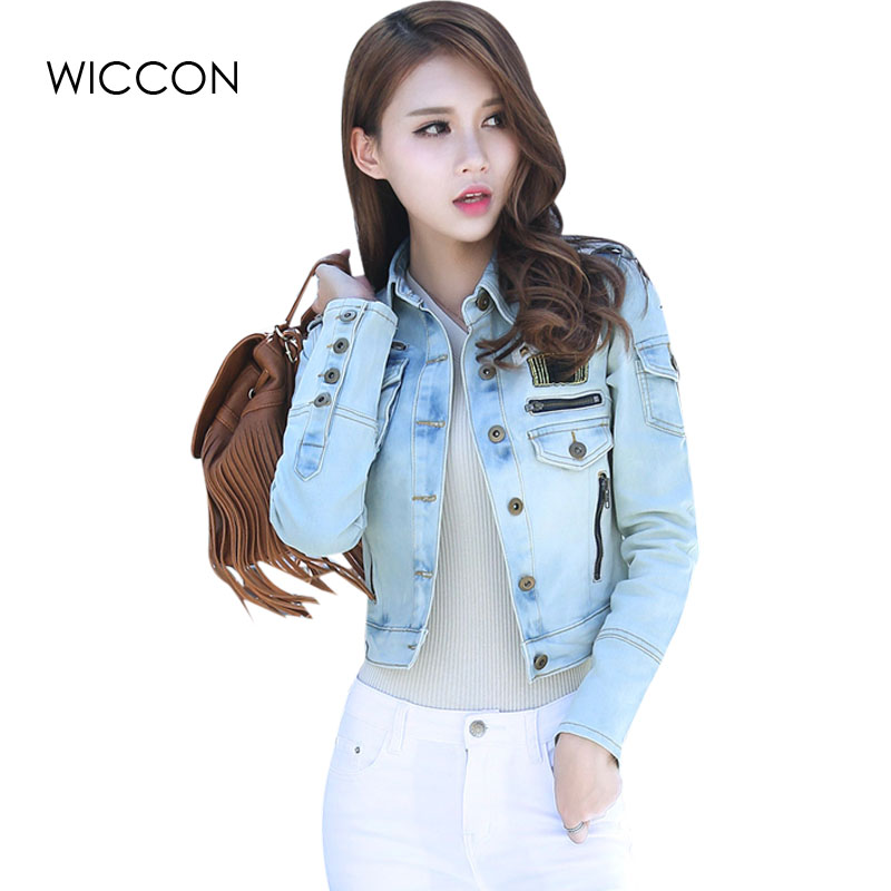 Autumn Patchwork Denim   Jackets   Women Vintage Casual   Basic   Coat Female Slim Jean   jacket   Women England Style Bomber   Jackets   WICCON