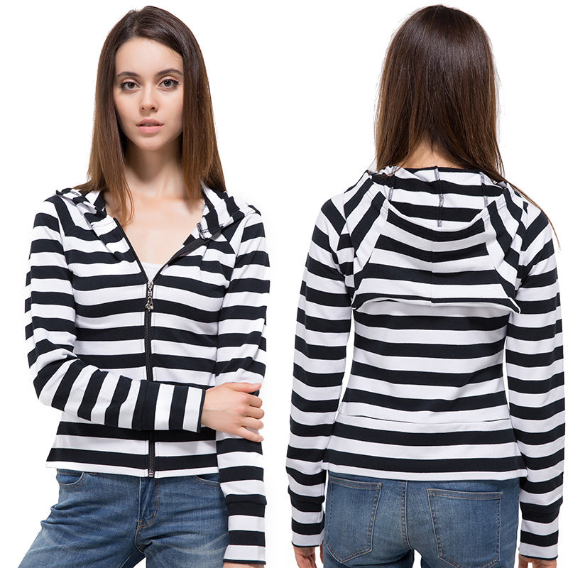 Black and White Striped Elbow Patching Long Sleeve Knitted Cardigan Slim 2017 Spring Autumn Women Hooded Sweater