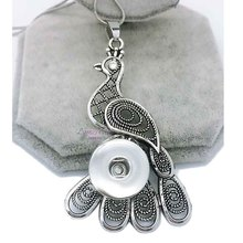 high quality peacock 055 Women's Vintage 12mm 18mm snap button necklace bohemian necklaces & pendants DIY Jewelry for women men
