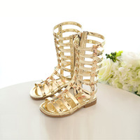 Summer Footswear Fashion Girls Children Sandals 3 Colors Princess Shoes Gladiator Cut Outs Cool Knee High