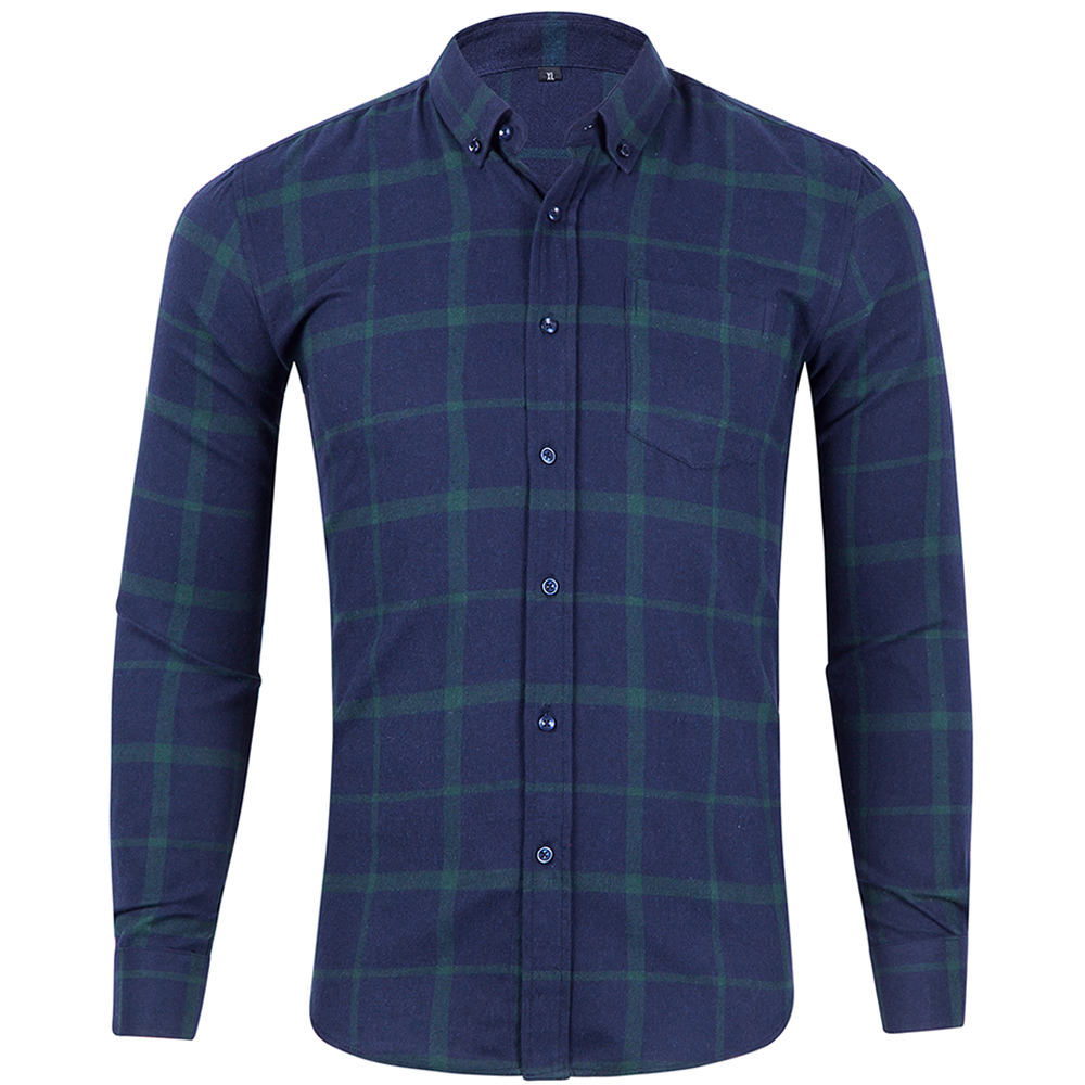 New Men's Youth Plaid Loose Turn-Collar Small Chequered Silk Long Sleeve Shirt European And American Size Thin Men's Wear