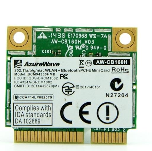 Placa de rede para AzureWave AW-CB160H BCM94360HMB BCM94360 Metade Mini-pci-e 802.11AC 2.4/5 GHz WiFi Bluetooth4.0 Cartão Sem Fio