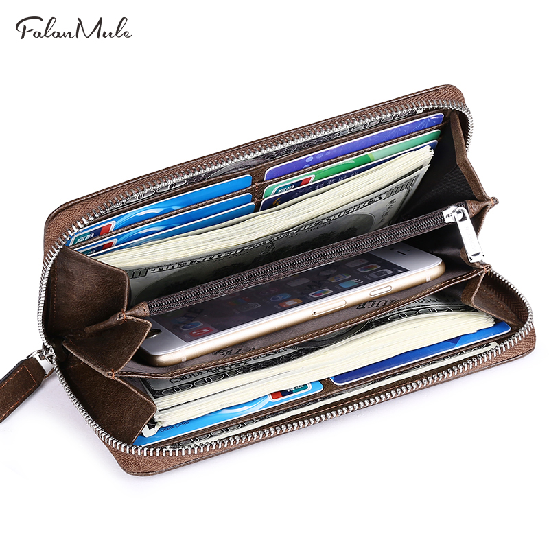 New Fashion Wallet Brand  Wallet Men Genuine Leather Wallet Quality Purse Long Coin Purse Luxury Men Purse Can Hold iPhone 7S