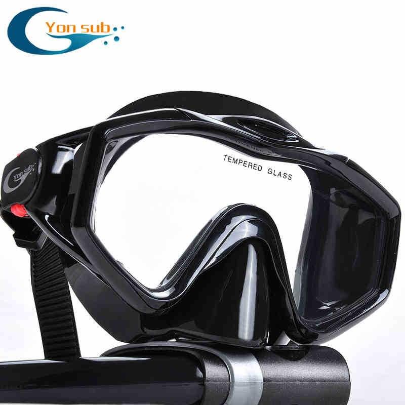 Máscara de buceo profesional de vidrio templado de silicona + Snorkel negro seco para la caza submarina