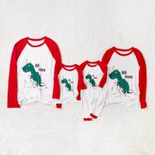 'HO HO HO' Dino Printed Matching Family T-shirts Cute Dinosaur Autumn Casual Round Neck Long Sleeve Parent-Child(China)