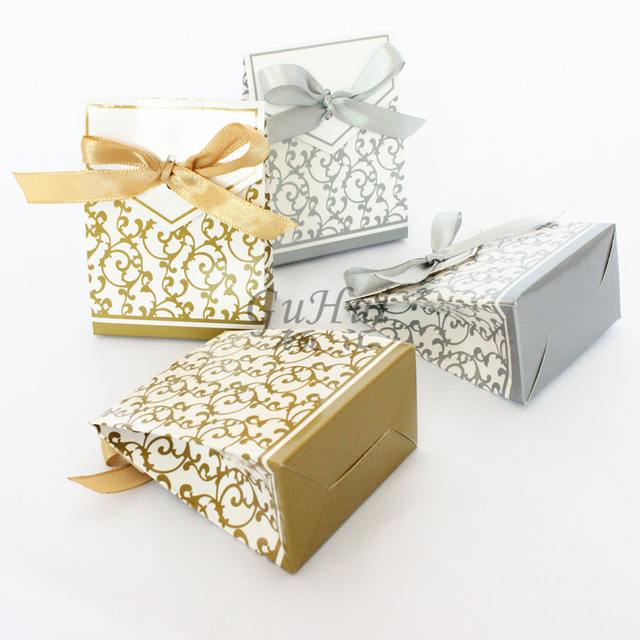 Aliexpress Buy Luxury Wedding Favour Gold Silver Candy Box