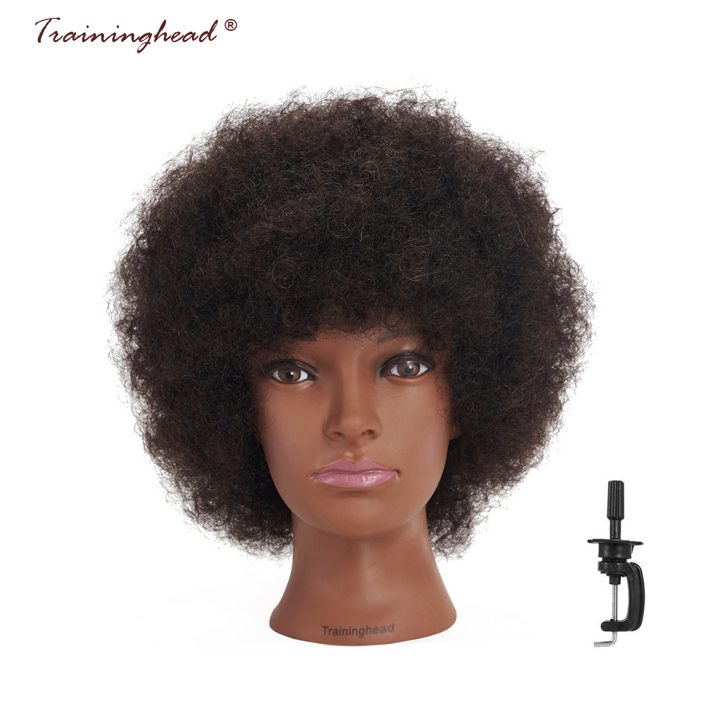 """Traininghead 10"""" Afro 100% Human Hair Mannequin Head For Wigs Hair Hairdressing Professional Hairstyle Practice Training Head"""