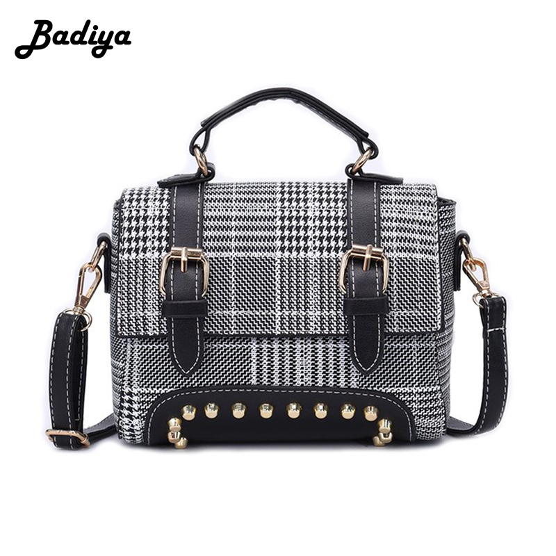 Luxury Messenger Bags Women Plaid Flap Bag Ladies Fashion Rivet Design Hasp Shoulder Bags Female Shopping Phone Bag Girl