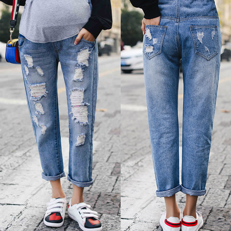 Spring Hole Belly Pants Maternity Jeans Loose Trousers Pregnant Cotton Jeans Plus Size Pregnancy Clothing YL503 new jeans maternity pants for pregnant women dungarees clothes trousers prop belly legging pregnancy clothing bib overalls pants