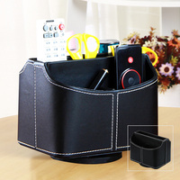 Storage Box Organizer High Grade PU Leather Desk Storage Container Case For Desktop Mobile Phone Remote