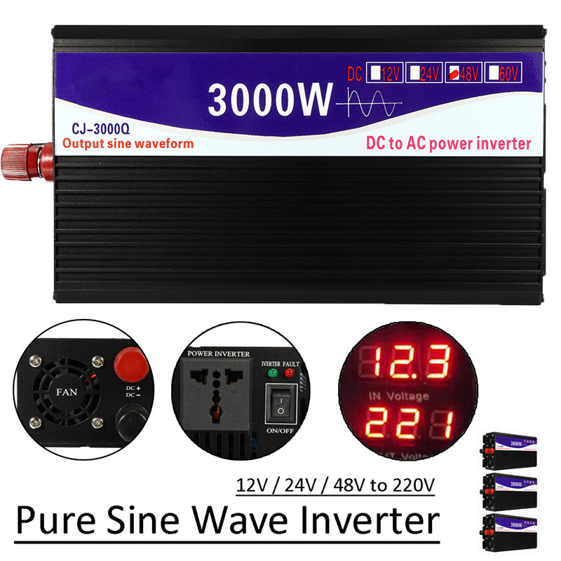 1 set Noir 3000 w 50 hz Onde sinusoïdale Pure Power Inverter Affichage LED 12 v/24 v/ 48 v À 220 v Transformateur Alimentation