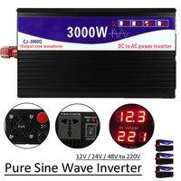 Black 3Pcs 3000W 50HZ Pure Sine Wave Power Inverter LED Display 12V / 24V / 48V To 220V Transformer Power Supply