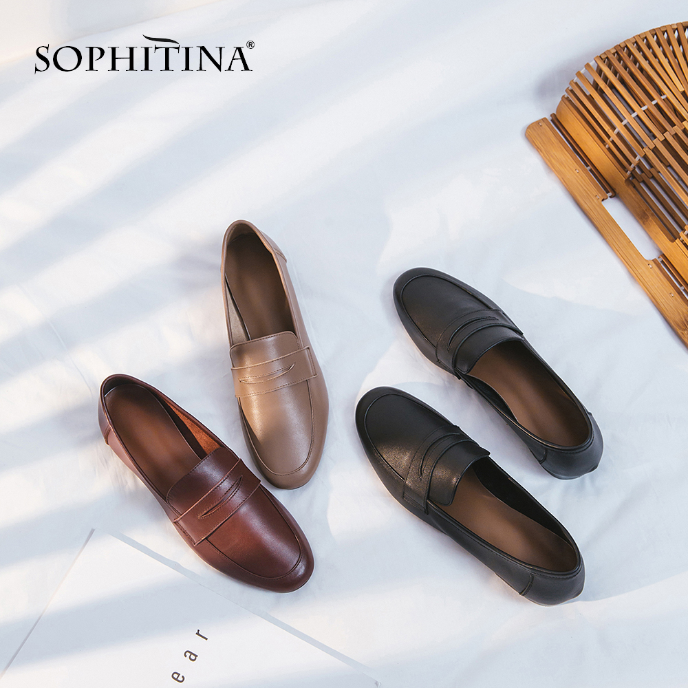 SOPHITINA New Spring Loafers Flats Genuine Leather Fashion Solid Slip-on Casual Shoes Handmade Shallow Comfortable Flats SO90SOPHITINA New Spring Loafers Flats Genuine Leather Fashion Solid Slip-on Casual Shoes Handmade Shallow Comfortable Flats SO90