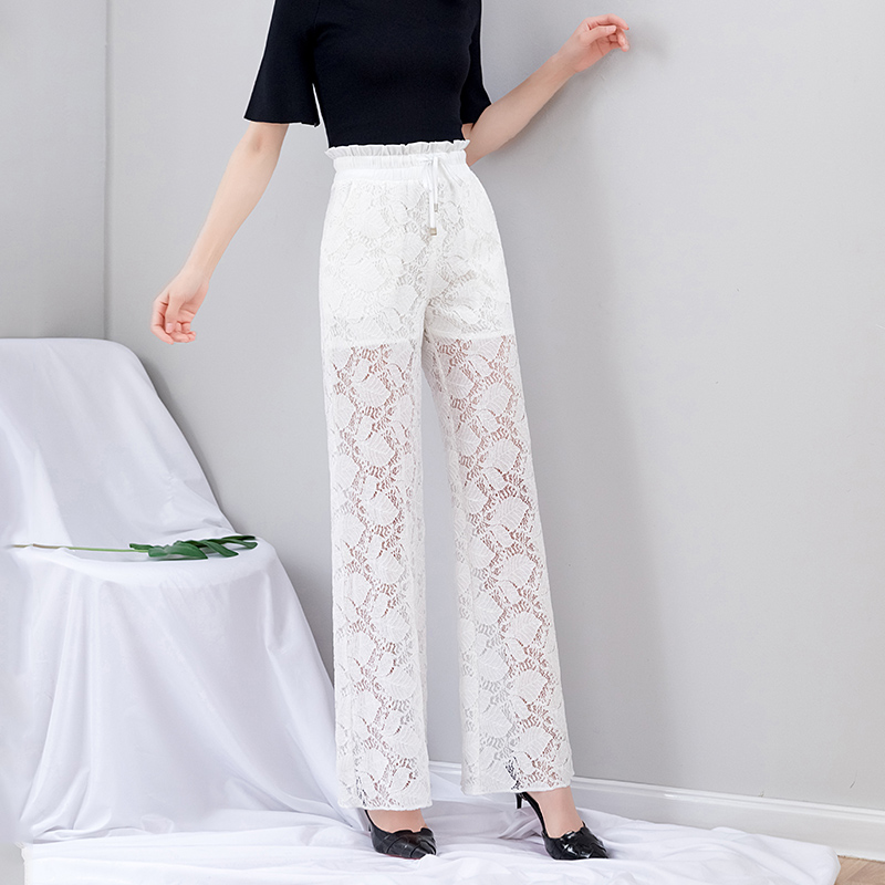 White Lace   Wide     Leg     Pants   Women Summer Ruffles Boho Loose Elastic Waist   Pants   Print High Waist Full Length Palazzo Trousers 2019