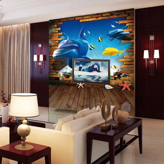 3D photo wallpaper Delfino Lagoon murales camera da letto ...