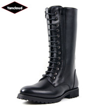 Mens Riding Boots 2018 Mid Calf Waterproof Martin Boots Men Long Military Boots Quality Leather Work Shoes for Man Winter