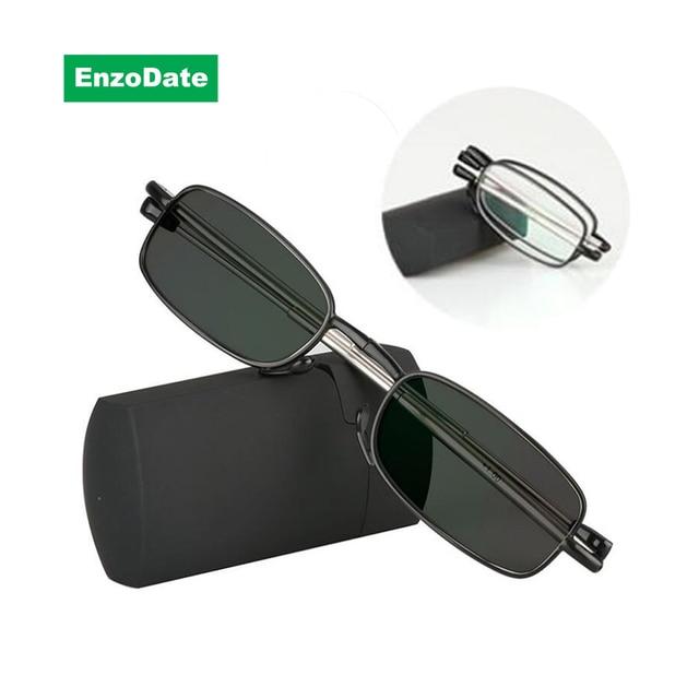 מעבר Photochromic מתקפל אופטי קוצר ראייה רוחק קריאת משקפיים + Rx Rx מותאם אישית כוח מיני כיס קורא עם מקרה עבור