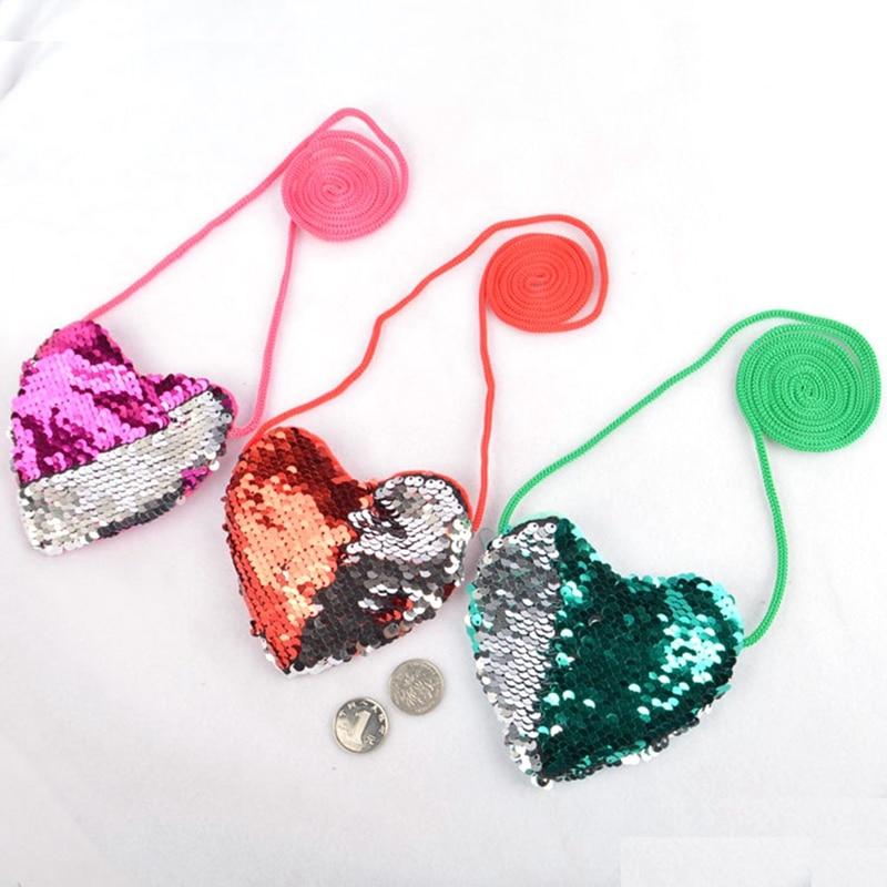 1Pc Kids Toddler Girls Sequins Heart-shaped Zipper Cross-body Handbag Fashion Kids Shoulder Messenger Bag