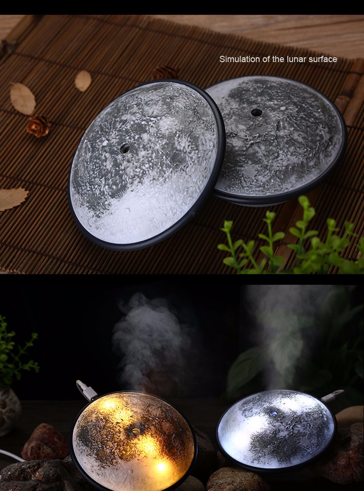 160ML Moon Shape Air Humidifier With Luna Surface USB Charging Aroma Essential Oil Diffuser With Magic Light Ultrasonic Mist Maker