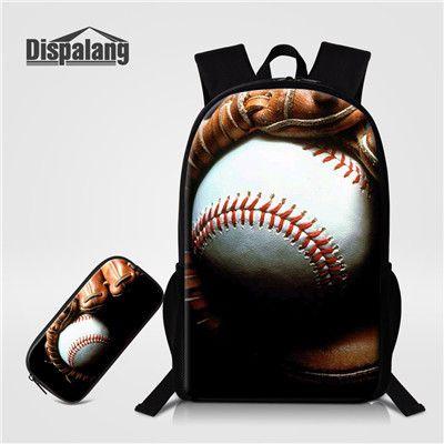 dd928cbfe4 Moda 2 Pçs set Dispalang Bolas de Futebol Americano Prints Backpack Para  Estudantes Primários Sacos + Caixa de Lápis Da Escola Dos Miúdos Saco  Homens ...