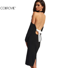 Sexy Women 2016 Backless Bodycon Pencil Dress Hollow Out Woman New Arrival Open Shoulder Long Sleeve Bow Halter Dress