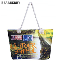 BEARBERRY 2017 fashion printed letters canvas shoulder bags landscape canvas handbags large size beach bags travel bags   MN508
