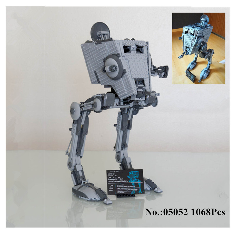 H&HXY IN STOCK 05052 Star 1068PCS Series Wars New The Empire AT-ST Robot Building Blocks Bricks Set lepin DIY  Toys  10174 gonlei in stock 05052 1068pcs new star war series the empire at st robot building blocks bricks set toys 10174