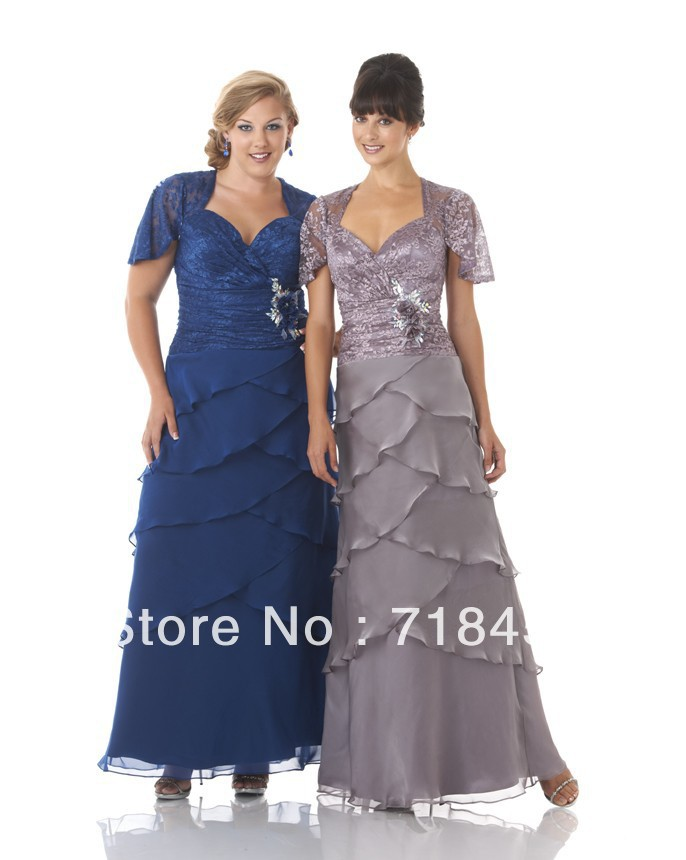 Modest Plus Size Mother Of Bride Dresses With Lace Short Sleeve