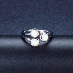 Image 3 - Женское кольцо с натуральным опалом HUTANG, обручальные Открытые Кольца из серебра 925 пробы, драгоценные камни, ювелирные изделия с 3 камнями, классический дизайн