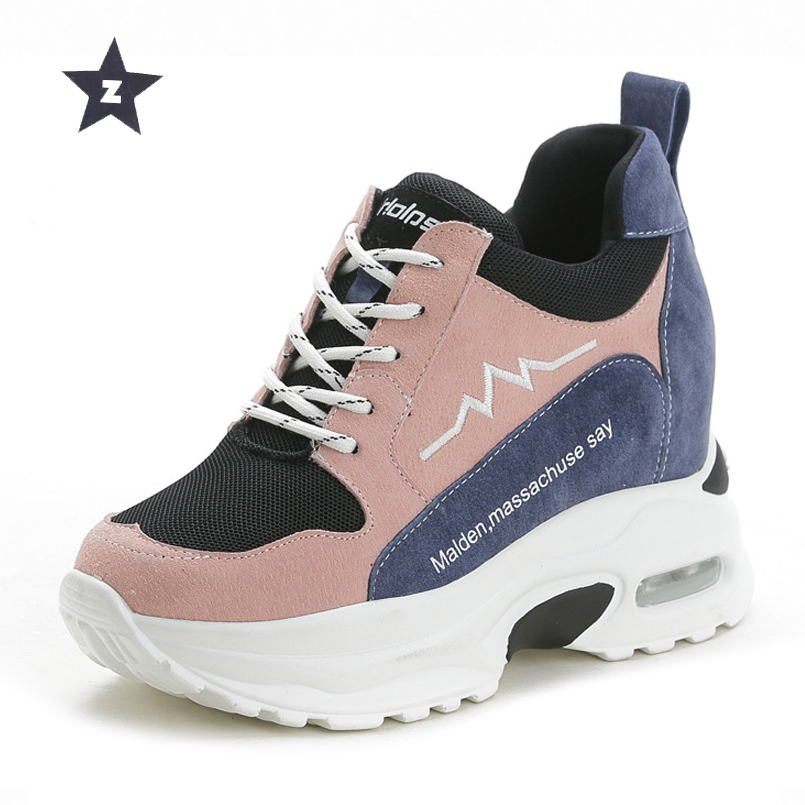 Z wedges platform shoes lacee trend women shoes high heels increased internal casual sport walking shoes