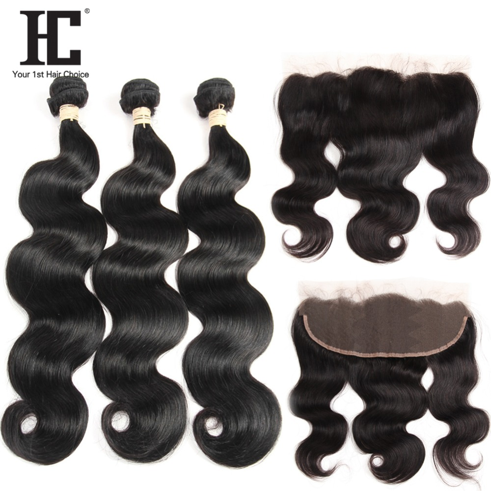 HC Hair Brazilian Body Wave Human Hair Weave 3 Bundles With Pre Plucked Frontal Non Remy