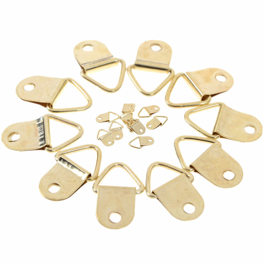 10PCS/Lot Golden Triangle D-Ring Hanging Picture oil Painting Mirror Frame Hooks Hangers