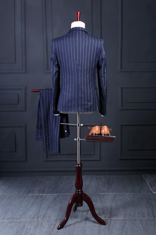 2020 rayé hommes costume dernier manteau pantalon conceptions mode formelle sur mesure Blazer hommes costumes (veste + pantalon + cravate + gilet + mouchoirs)-in Costumes from Vêtements homme    2