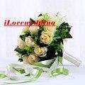 Chegada nova Champagne Buquê de Casamento Para As Mulheres 24 Buque de Noiva 2016 Baratos Rosa Artificial Flores De Noiva Acessórios Vestido