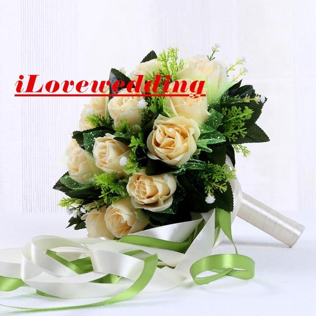 New Arrival Champagne Wedding Bouquet For Women 24 Buque De Noiva 2016 Cheap Artifical Rose Bridal Flowers Accessories Gown