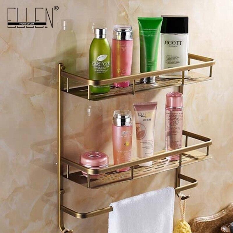 Bathroom Shelves Dual Tier With Towel Rack Square Bath Shampoo Holder Antique Bronze Bathroom Storage Copper