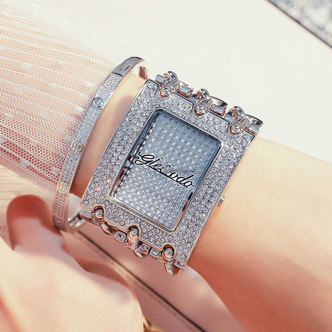 Relógios para Mulheres de Prata Relógio de Forma de Quartzo Relógios de Pulso Luxo Strass Senhoras Pulseira Relógio Retângulo Feminino New g & d