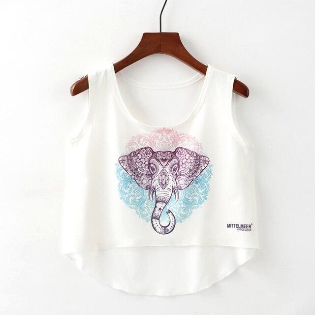 b4dcd5393711 Crop Top Short Tank Top Female Cute Ice Cream Unicorn Elephant Printed  Women Tops 2018 White Sexy Cropped Tops Tank