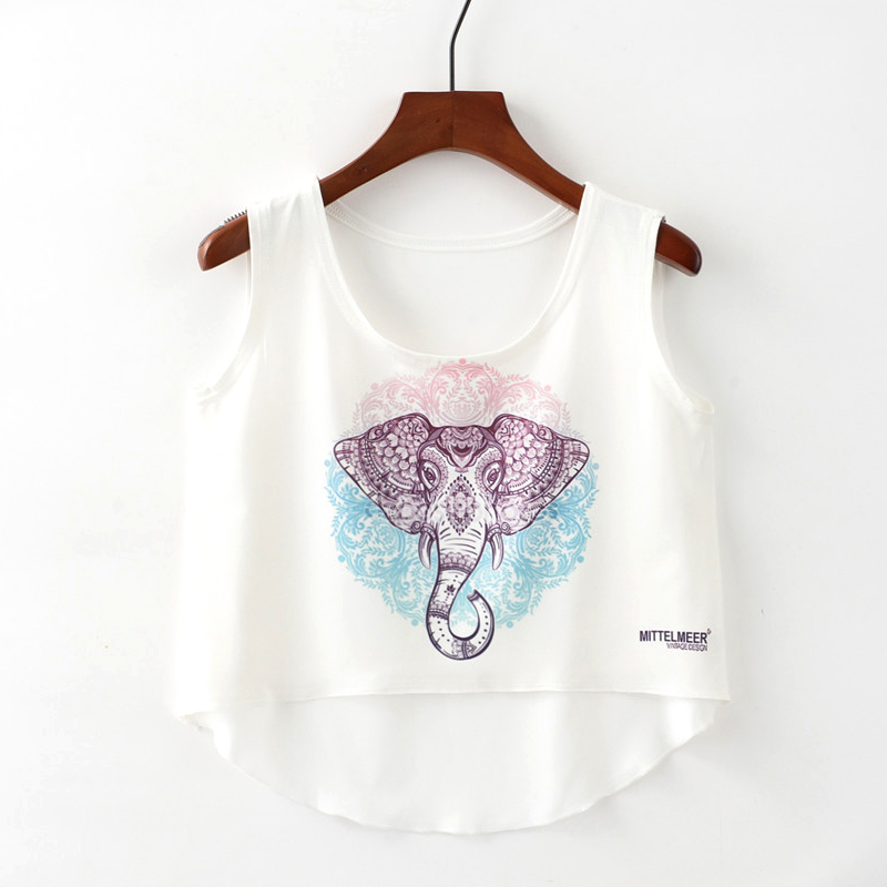 Crop   Top   Short   Tank     Top   Female Cute Ice Cream Unicorn Elephant Printed Women   Tops   2018 White Sexy Cropped   Tops     Tank