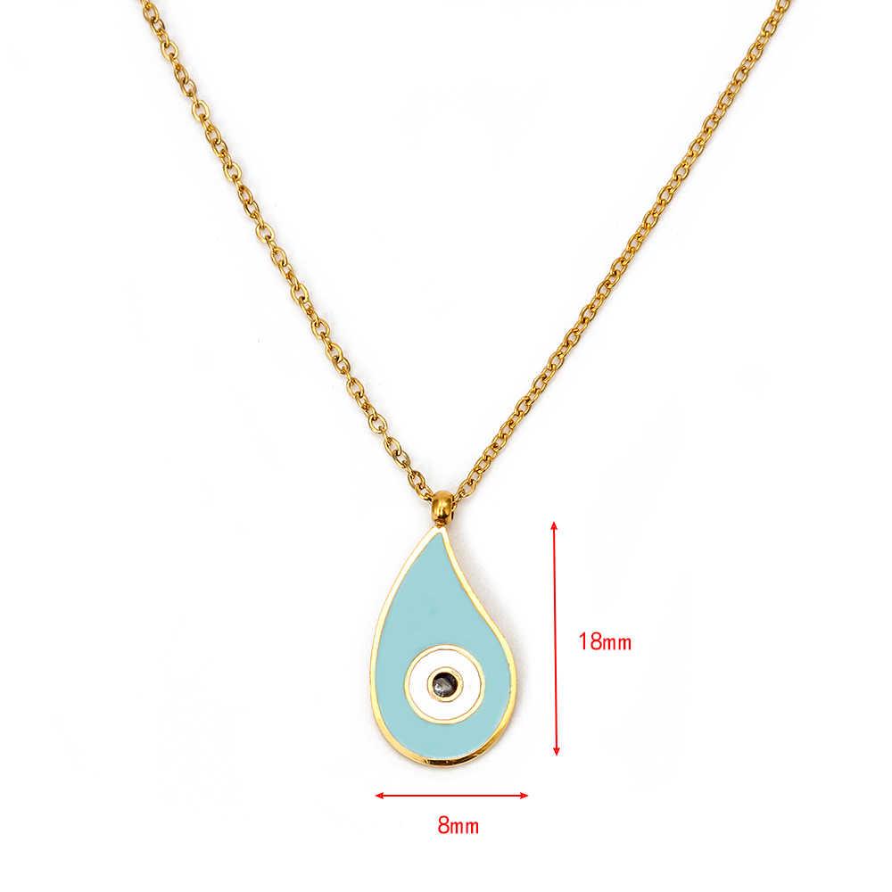 May mắn mắt Xanh Dương Ác Mắt Mặt Dây Chuyền Vòng Cổ Vàng Thép không gỉ Dây Chuyền Giọt Nước Vòng Tay Nữ Trang Sức Nữ Nữ EY6368