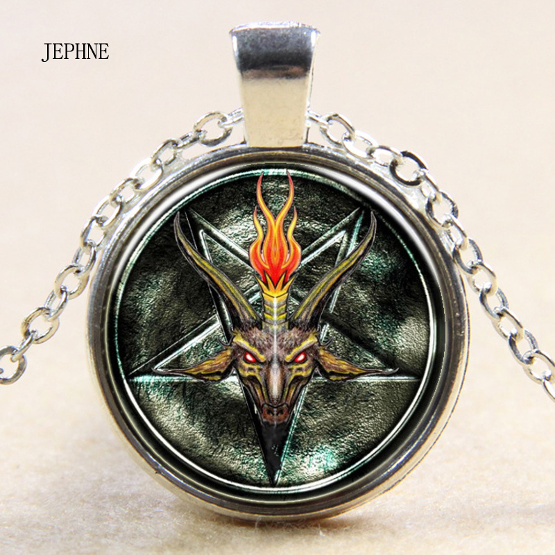 Jephne Jewelry Women's Fashion Inverted Pentagram Baphomet Necklace Death Evil Occult Satanic Goat Photo Art Glass Cabochon Gift