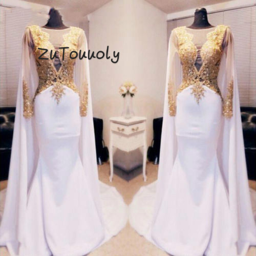 Arabic Kftan Gold Beaded Appliques Evening Dresses 2018 Long Sleeve With Cape Backless Women Formal Prom Gowns Mermaid Satin Pageant Wear