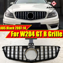 For MercedesMB W204 Sport grille GT R style ABS gloss black Without sign C class C180 C200 C250 C63 Look grils 2007-2014