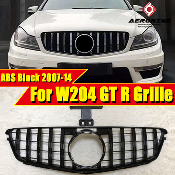 For MercedesMB W204 Sport grille grille GT R style ABS gloss black Without sign C class C180 C200 C250 C63 Look grils 2007-2014