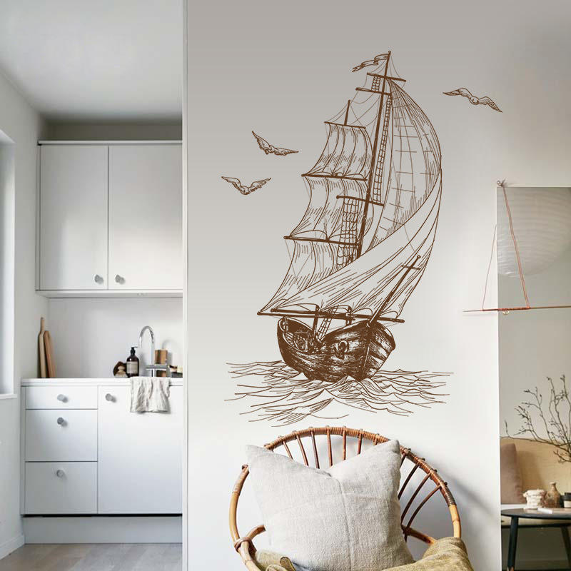 Sailboat Home Decor: Sketch Sailboat Wall Stickers Living Room Wall Decoration