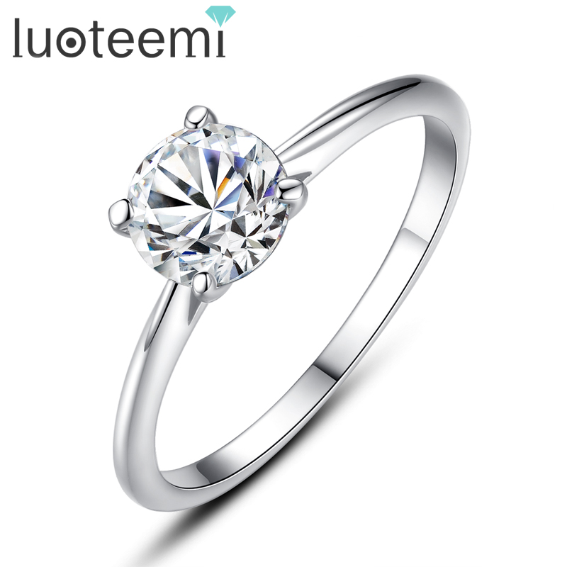 LUOTEEMI 2 Carat 8mm Hearts & Arrows CZ 925 Sterling Silver Ring Women Wedding Luxury En ...