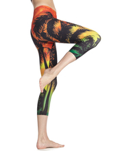 3D Sunset Trees Design Beach Leggings