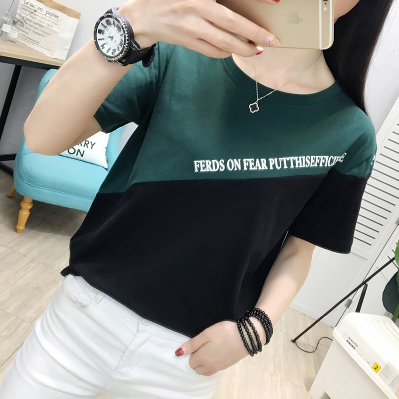 camisetas mujer verano 2019 casual t shirt women tshirt plus size t shirt women tops summer splice green Khaki tee shirt femme in T Shirts from Women 39 s Clothing