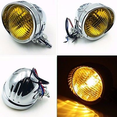 Chrome Motorcycle High Low Beam Head Light Headlight Lamp for Harley Chopper Cruiser