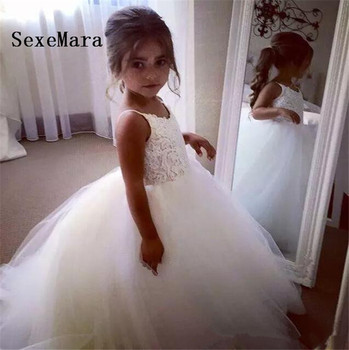 2019 White Ivory Flower Girls Dresses Tulle Lace Top Spaghetti Formal Kids Birthday Party Gown Girls Dress Free Shipping